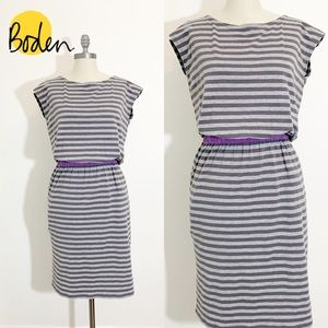 Boden Newquay soft gray jersey striped dress 6